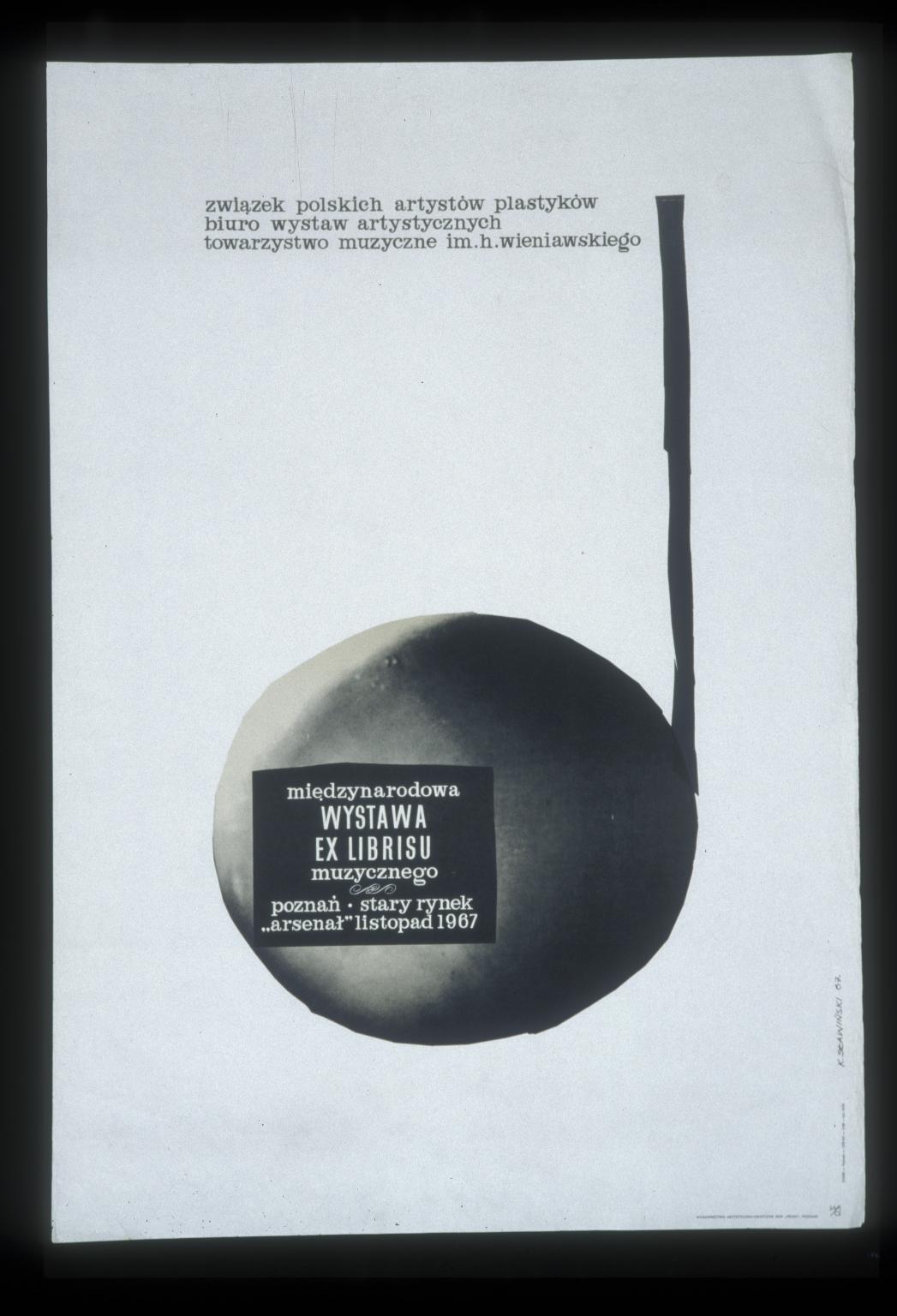 """Miedzynarodowa wystawa ex librisu muzycznego: Poznan, Stary Rynek """"Arsenal"""", listopad 1967"""