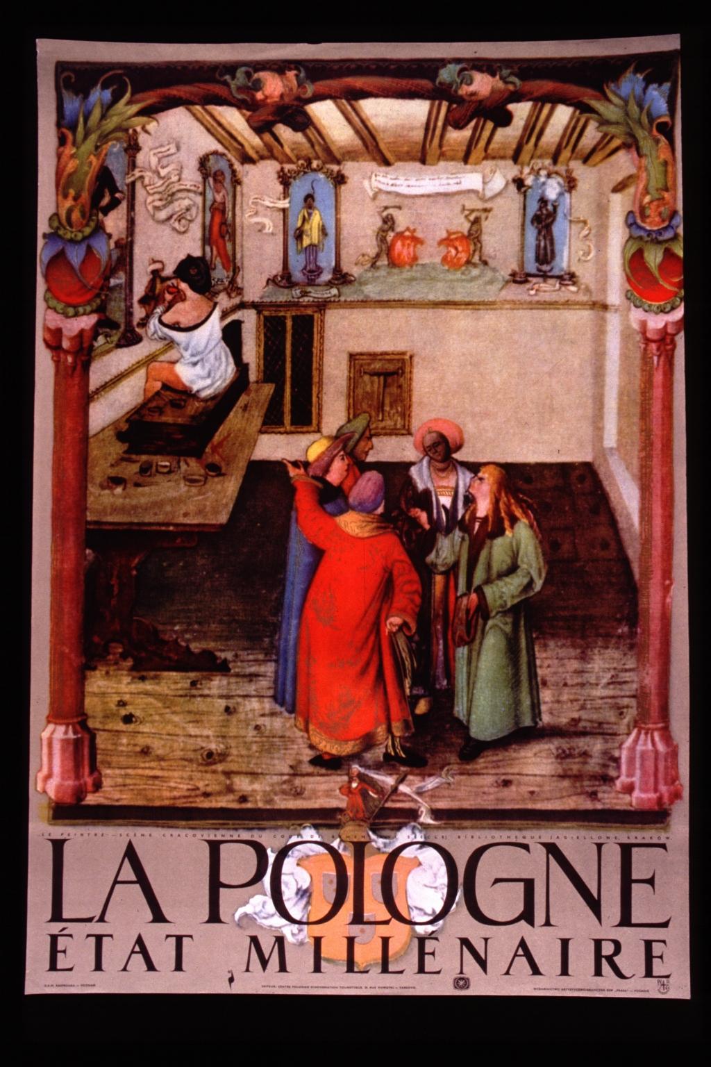 """La Pologne etat millenaire : """"Le peintre"""" - scène Cracovienne du code de Behem (XVI siècle) Bibliotheque Jagiellone, Krakow"""