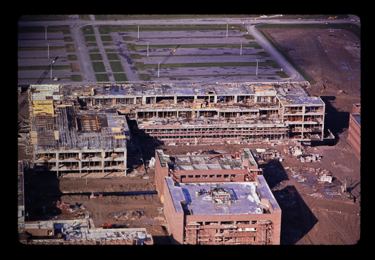 Aerial photograph of buildings under construction