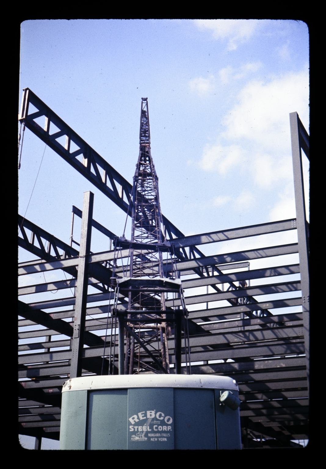 Steel framework of a building