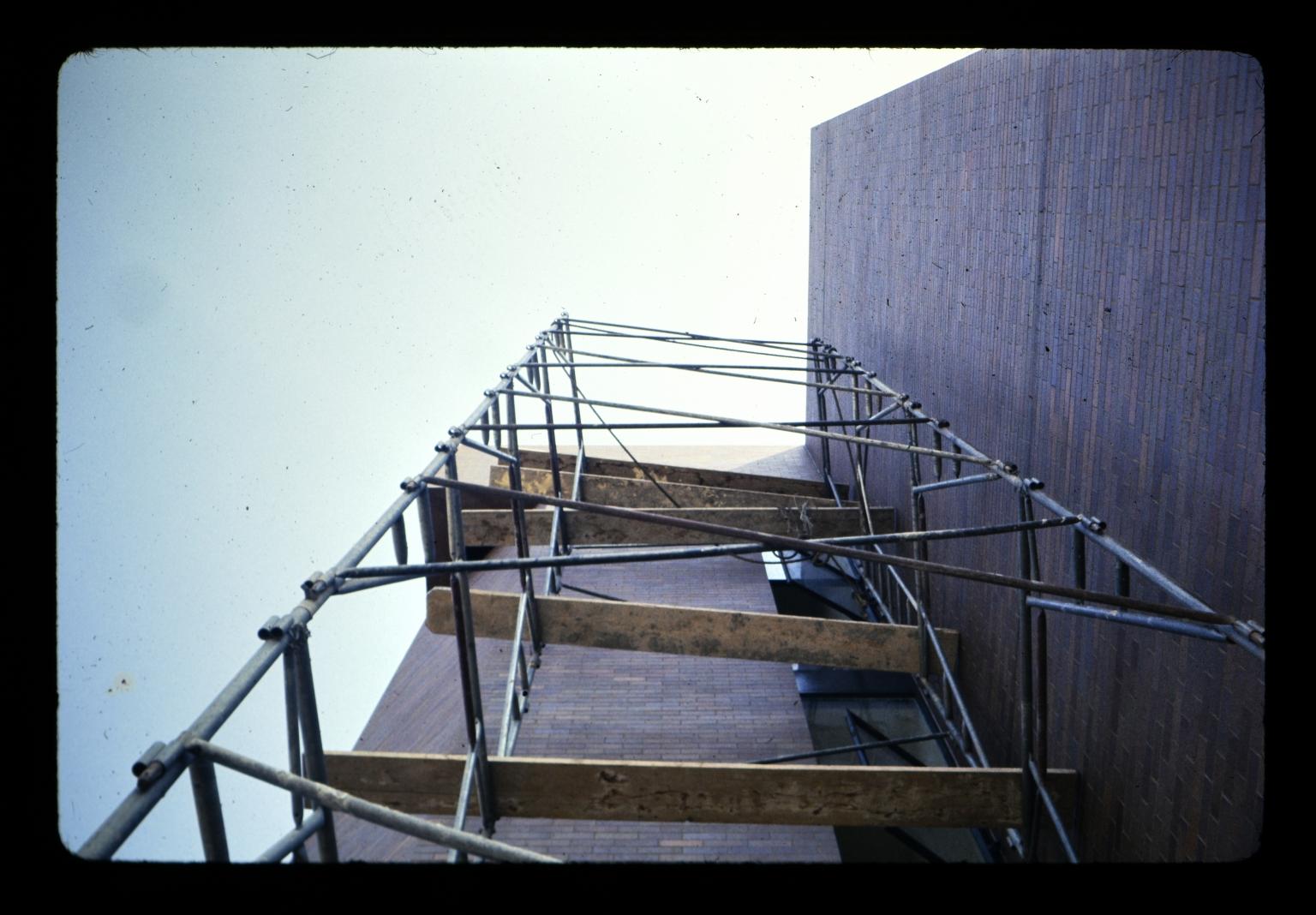 Scaffolding along exterior wall