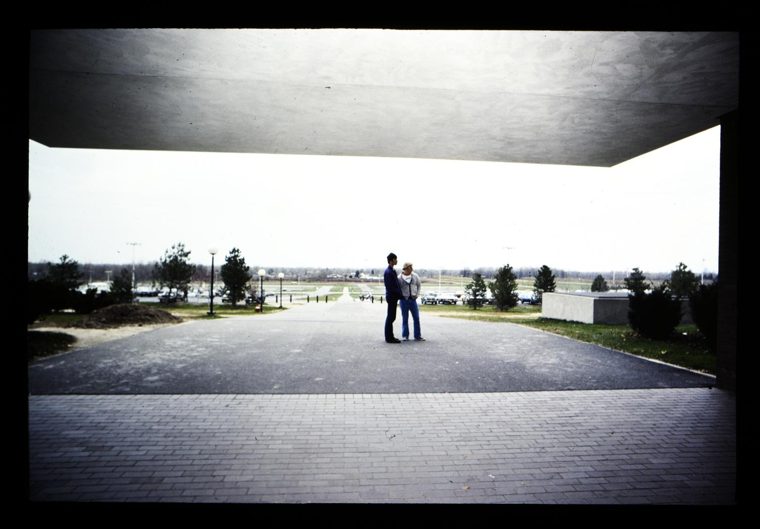 Standing in the walkway