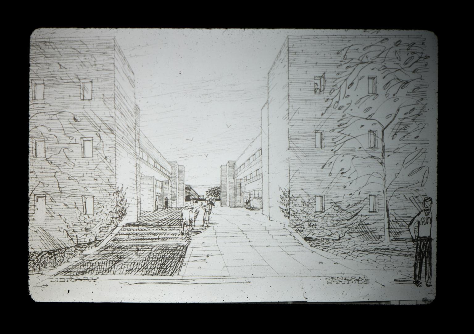 Concept sketch of campus buildings