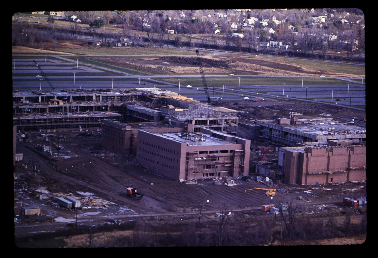 Aerial view of construction on Henrietta campus