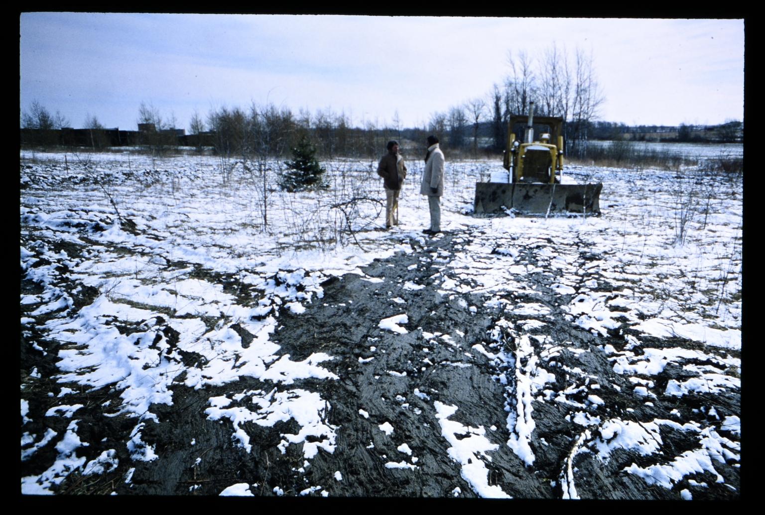 Bulldozer in snow