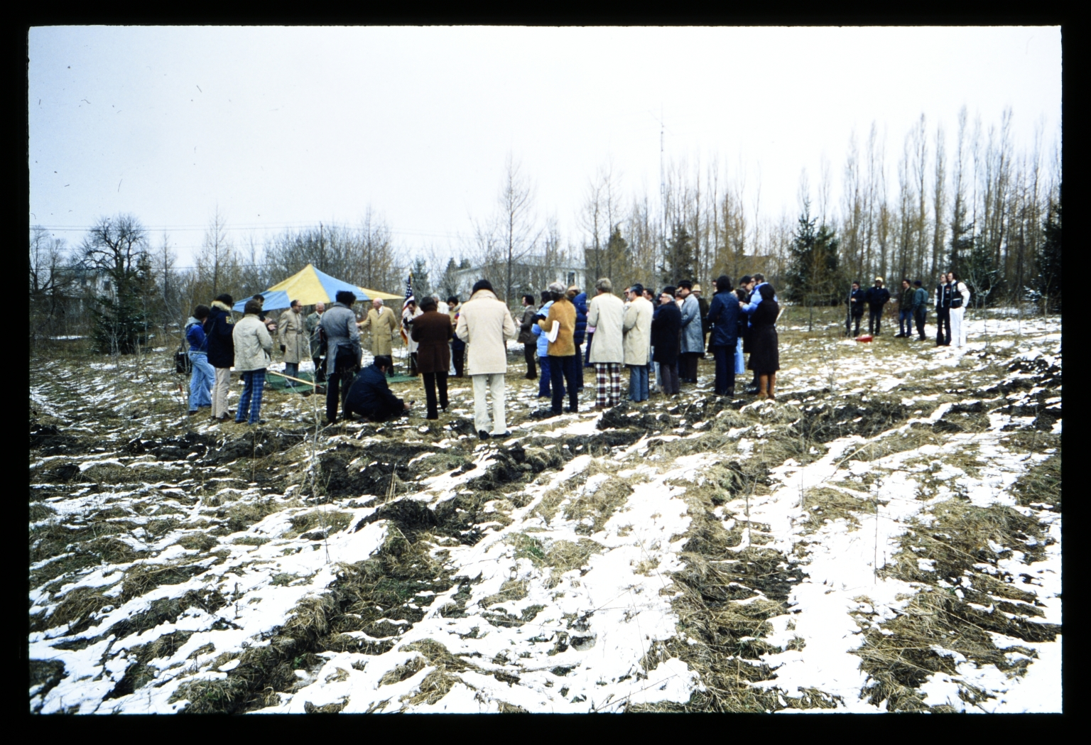 Gathering at the construction site