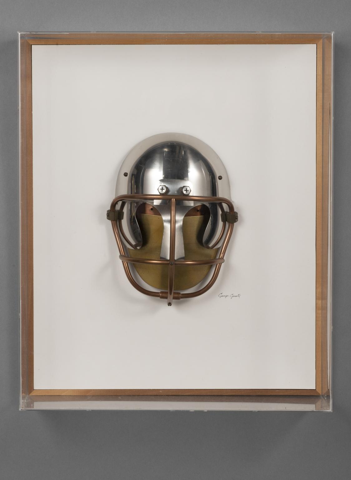Football player, metal helmet